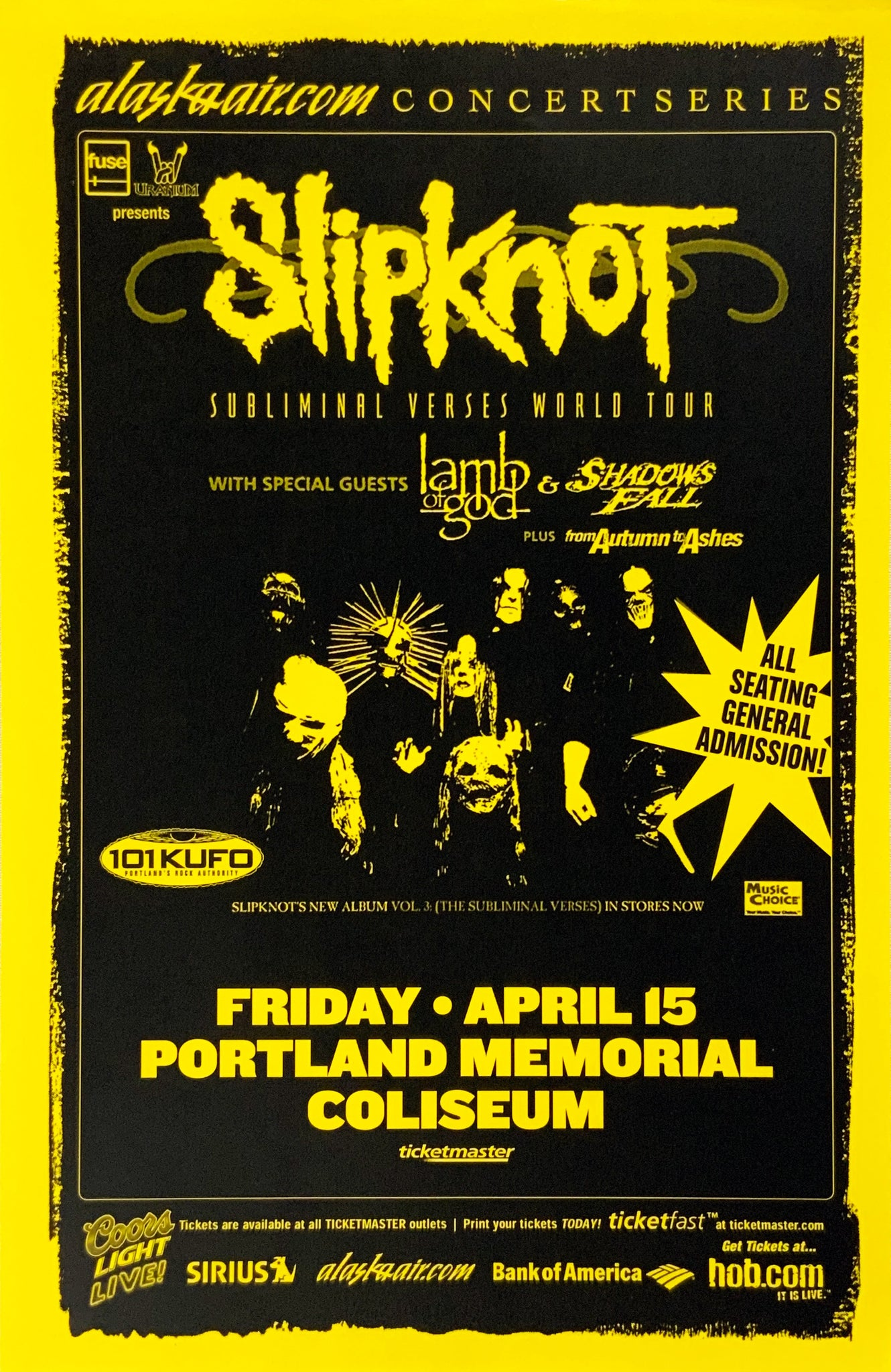 Slipknot Portland Memorial Coliseum April 15th Poster