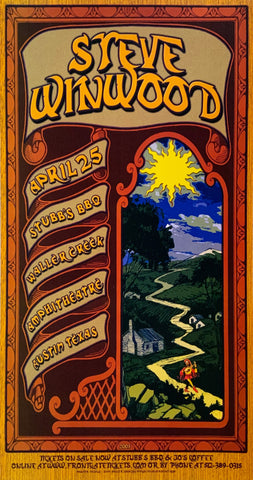 Steve Winwood Stubb's BBQ Waller Creek Amphitheatre April 25th Handbill Poster