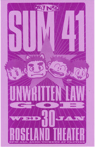 Sum 41 With Unwritten Law Roseland Theater January 30th Poster
