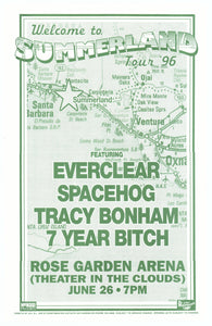 Welcome to Summerland Tour With Everclear & Spacehog 1996 Rose Garden June 26th Poster