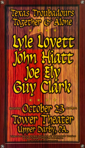 Texas Troubadours Together & Alone Tower Theater October 23rd Handbill Poster
