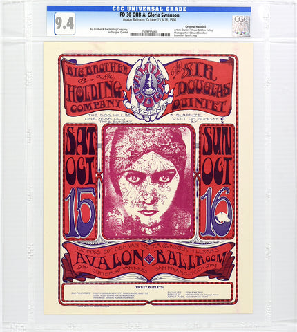 FD-30 : OHB-A : CGC 9.4 : GLORIA SWANSON : BIG BROTHER & THE HOLDING CO. : AVALON BALLROOM : 1966