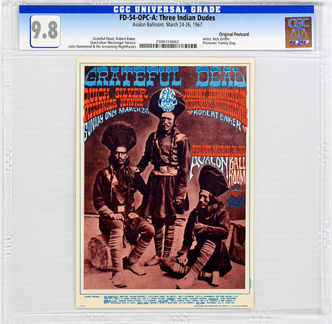 FD-54 : OPC-A : CGC 9.8 : THREE INDIAN DUDES : GRATEFUL DEAD : AVALON BALLROOM : 1967