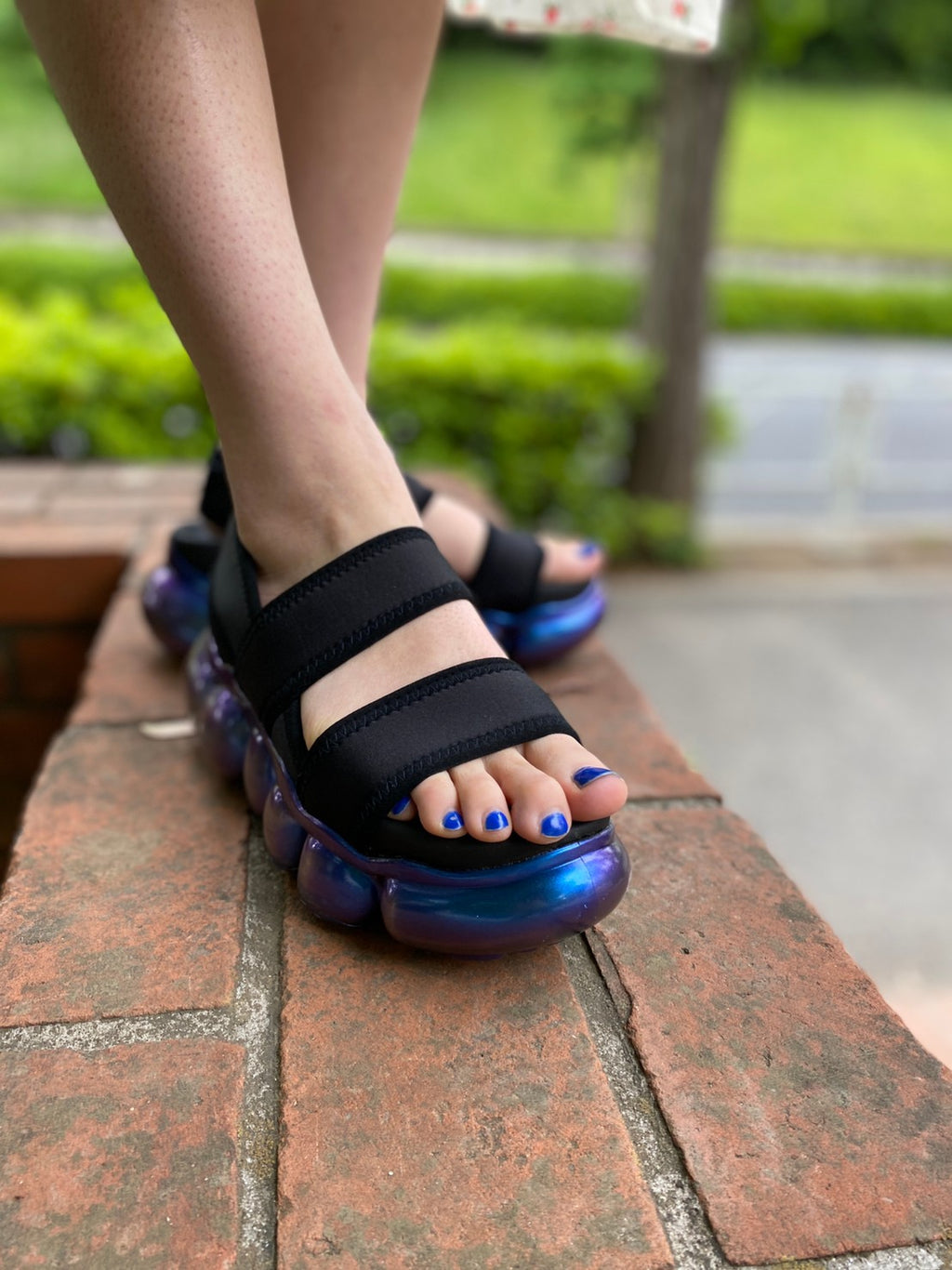 "【AURORA】""Jewelry"" Sandals  Black / Black"