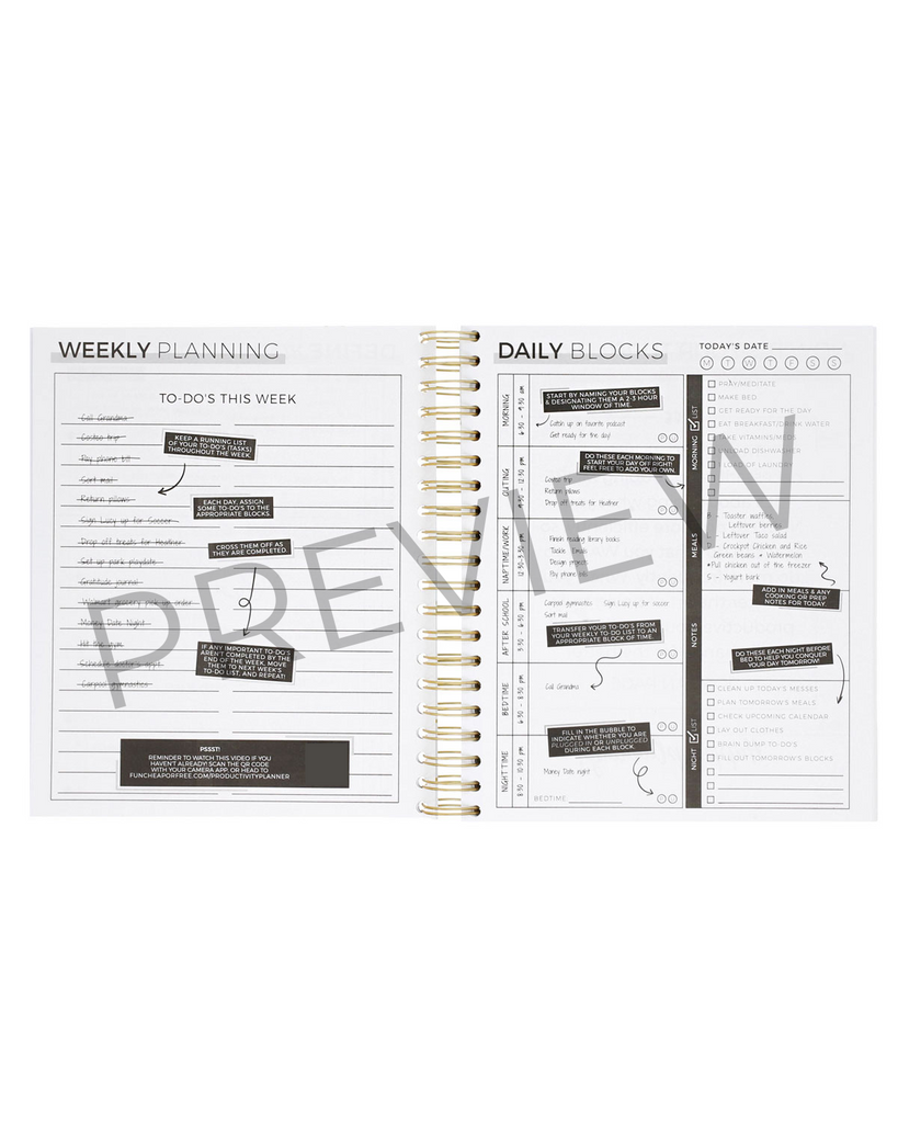 6-Month Productivity Planner | Marble | BACKORDERED