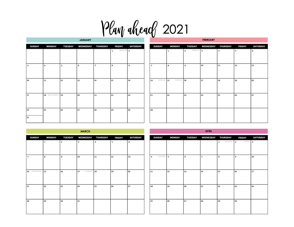 Focused In 2020 Digital Download Calendar