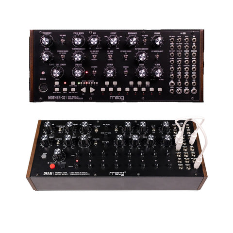 Moog Mother 32 Synthesizer and Moog DFAM Percussion Synthesizer