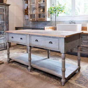 Park Hill Painted French Kitchen Island with Old Elm Top - Accessories Essentials