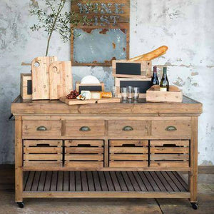 Park Hill Rolling Kitchen Island with Stone Top - Accessories Essentials
