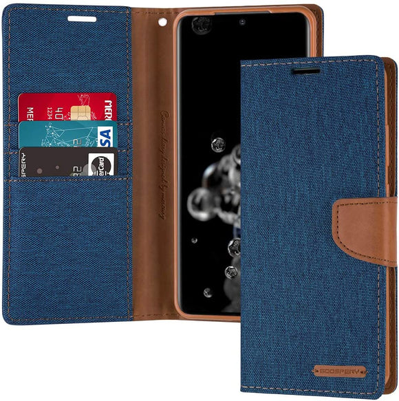 Goospery Canvas Wallet for Samsung Galaxy S20 Ultra Case (2020) Denim Stand Flip Cover