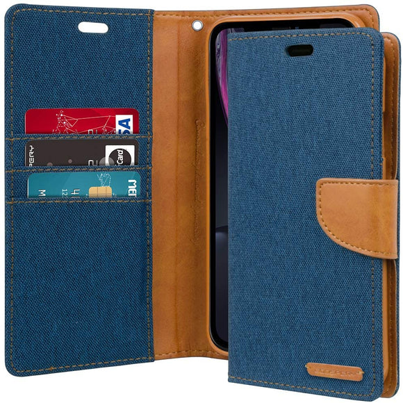 GOOSPERY Canvas Wallet for Apple iPhone XR Case (2018) Denim Stand Flip Cover