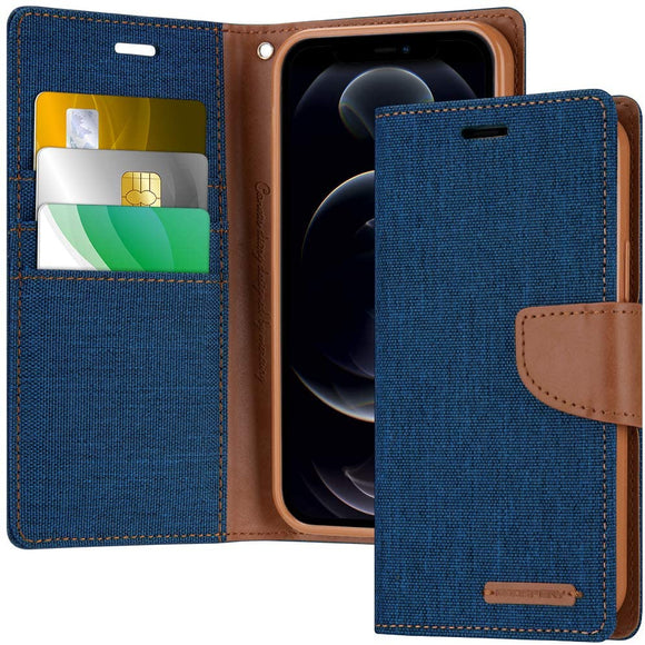 Goospery Canvas Wallet Case for iPhone 12 Pro Max (6.7 inches) Denim Stand Flip Cover