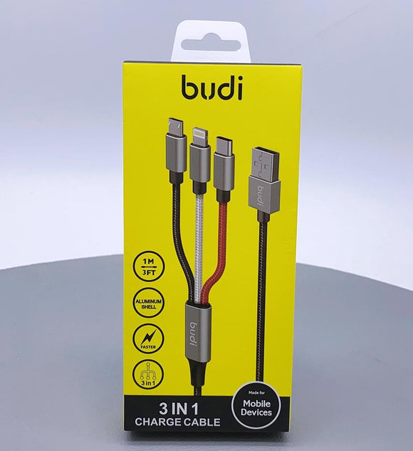 Budi  3 in 1 charge cable Lightening/ Type C/ Micro USB1 meter  DC203A8