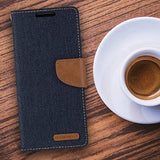 Goospery Canvas Wallet for Samsung Galaxy Note 10 Plus Case (2019) Denim Stand Flip Cover (Black) NT10P-CAN-BLK