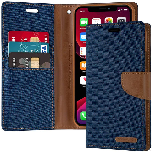 Goospery Canvas Wallet for Apple iPhone 11 Pro Case (5.8 inches) Denim Stand Flip Cover