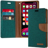 Goospery Canvas Wallet for Apple iPhone 11 Case (6.1 inches) Denim Stand Flip Cover (Black) IP11-CAN-BLK