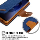 Goospery Canvas Wallet for Samsung Galaxy S9 Plus Case (2018) Denim Stand Flip Cover (Navy) S9P-CAN-NVY