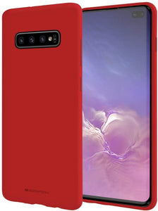 Goospery Soft Feeling Jelly for Samsung Galaxy S10 Plus Case (2019) Silky Slim Bumper Cover (Red) S10P-SFJEL-RED