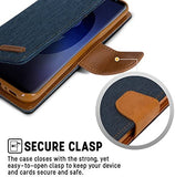 Goospery Canvas Wallet for Samsung Galaxy S9 Case (2018) Denim Stand Flip Cover