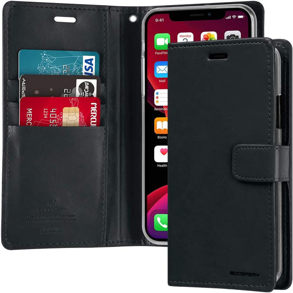 Goospery Blue Moon Wallet for Apple iPhone 11 Pro Max Case (2019) Leather Stand Flip Cover (Black) IP11PROMAX-BLM-BLK