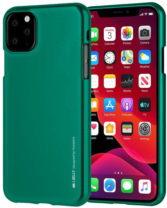 Goospery i-Jelly for Apple iPhone 11 Pro Max Case (6.5 inches) Slim Thin Rubber Case (Metallic Blue) IP11PROMAX-IJEL-BLU Metallic Green