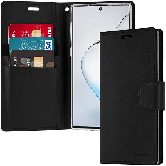 Goospery Sonata Wallet for Samsung Galaxy Note 10 Plus Case (2019) Leather Stand Flip Cover (Black) NT10P-SON-BLK