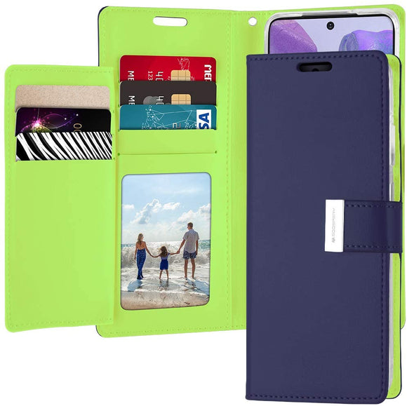 GOOSPERY Rich Wallet for Samsung Galaxy Note 20 Case (2020) Extra Card Slots Leather Flip Cover (Yellow) NT20-RIC-YEL