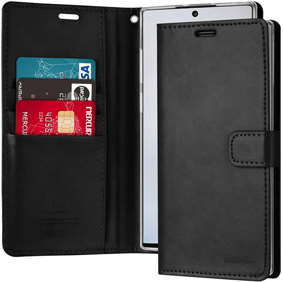 GOOSPERY Blue Moon Wallet for Samsung Galaxy Note 10 Plus Case (2019) Leather Stand Flip Cover (Black) NT10P-BLM-BLK