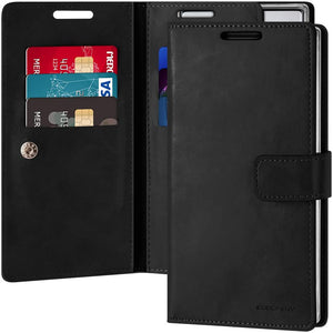 Goospery Mansoor Wallet for Samsung Galaxy Note 10 Case (2019) Double Sided Card Holder Flip Cover (Black) NT10-MAN-BLK