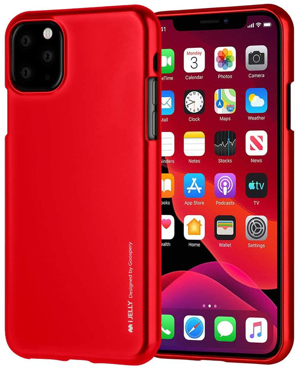 Goospery i-Jelly for Apple iPhone 11 Pro Max Case (6.5 inches) Slim Thin Rubber Case (Metallic Blue) IP11PROMAX-IJEL-BLU Metallic Red
