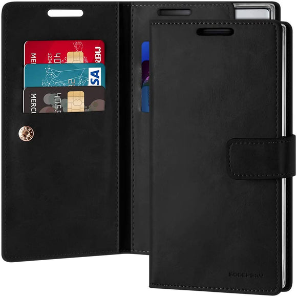 Goospery Mansoor Wallet for Samsung Galaxy Note 10 Plus Case (2019) Double Sided Card Holder Flip Cover (Black) NT10P-MAN-BLK