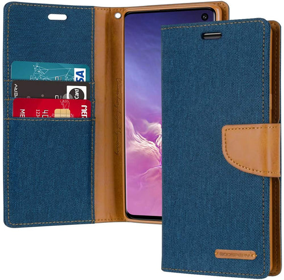 Goospery Canvas Wallet for Samsung Galaxy S10 Case (2019) Denim Stand Flip Cover