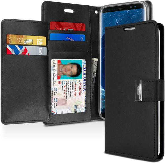 Goospery Rich Wallet for Samsung Galaxy S9 Case (2018) Extra Card Slots Leather Flip Cover