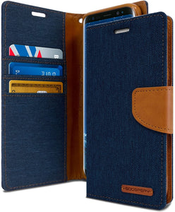 Goospery Canvas Wallet for Samsung Galaxy S9 Plus Case (2018) Denim Stand Flip Cover