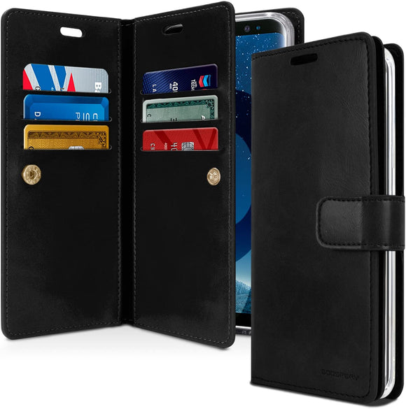 Goospery Mansoor Wallet for Samsung Galaxy S9 Case (2018) Double Sided Card Holder Flip Cover (Black) S9-Man-BLK