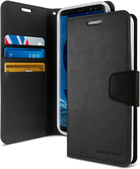 Goospery Sonata Wallet for Samsung Galaxy S9 Case (2018) Leather Stand Flip Cover (Black) S9-Son-BLK