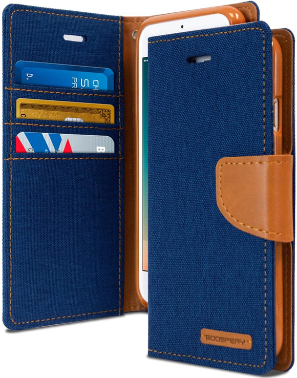 Goospery Canvas Wallet for Apple iPhone 8 Case, iPhone 7 Case, Denim Stand Flip Cover