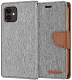 Goospery Canvas Wallet Case for iPhone 12 Pro, iPhone 12 (6.1 inches) Denim Stand Flip Cover