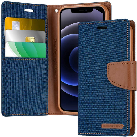 Goospery Canvas Wallet Case for iPhone 12 Mini (5.4 inches) Denim Stand Flip Cover