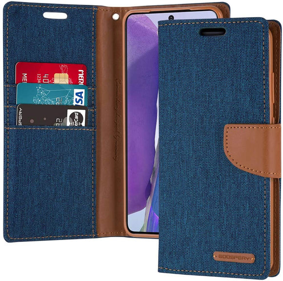 Goospery Canvas Wallet for Samsung Galaxy Note 20 Case (2020) Denim Stand Flip Cover