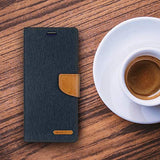 Goospery Canvas Wallet for Samsung Galaxy S10 Plus Case (2019) Denim Stand Flip Cover (Black) S10P-CAN-BLK