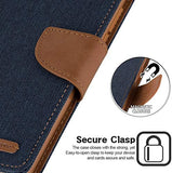 Goospery Canvas Wallet for Samsung Galaxy Note 20 Ultra Case (2020) Denim Stand Flip Cover (Orange) NT20U-CAN-ORG