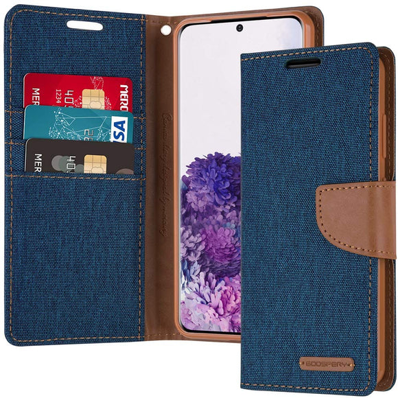Goospery Canvas Wallet for Samsung Galaxy S20 Case (2020) Denim Stand Flip Cover