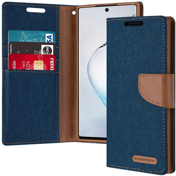 Goospery Canvas Wallet for Samsung Galaxy Note 10 Case (2019) Denim Stand Flip Cover