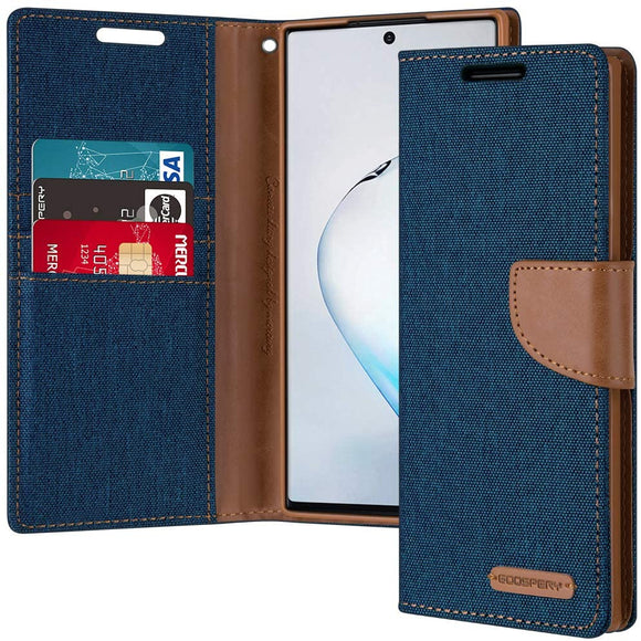 GOOSPERY Canvas Wallet for Samsung Galaxy Note 10 Plus Case (2019) Denim Stand Flip Cover
