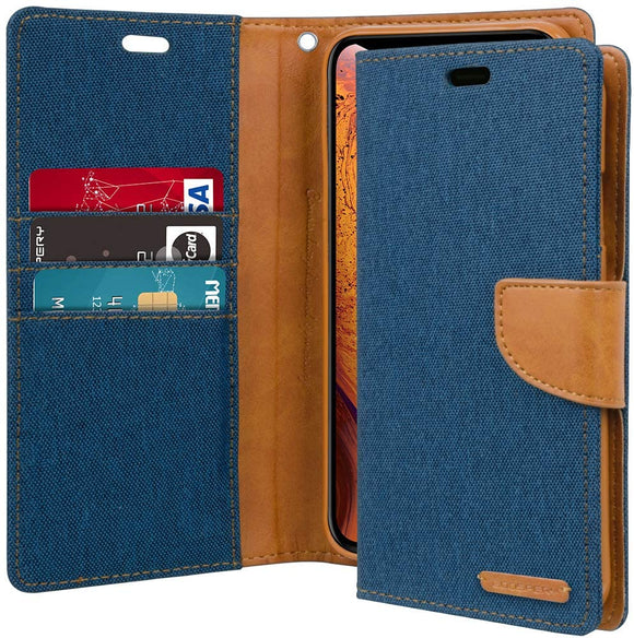 GOOSPERY Canvas Wallet for Apple iPhone Xs Case (2018) iPhone X Case (2017) Denim Stand Flip Cove
