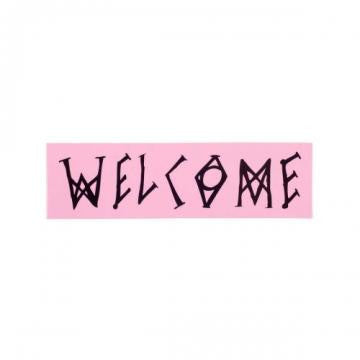 Welcome Scrawl Sticker Pink/Black 7""