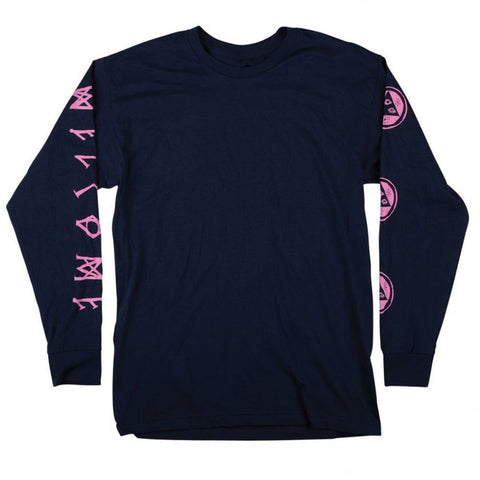 Welcome Skateboards Binary Long Sleeve T-Shirt Navy/Pink