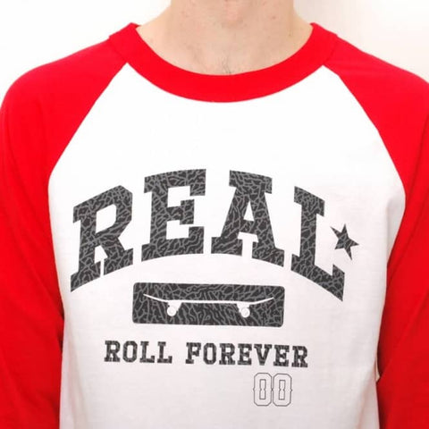 Real Arch Varsity 3/4 Sleeve Raglan T-Shirt Small White/Red