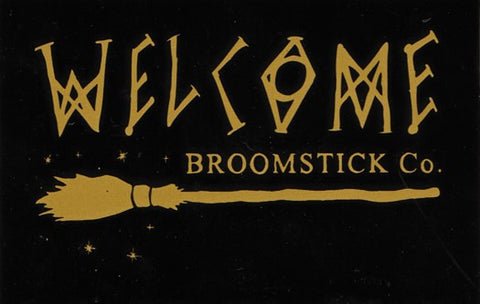 Welcome Broomstick Co Sticker Black/Gold 5""